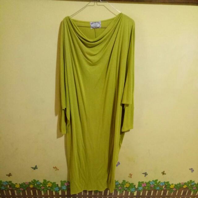 Gamis Batwing Hijau Lemon Women S Fashion Muslim Fashion On Carousell