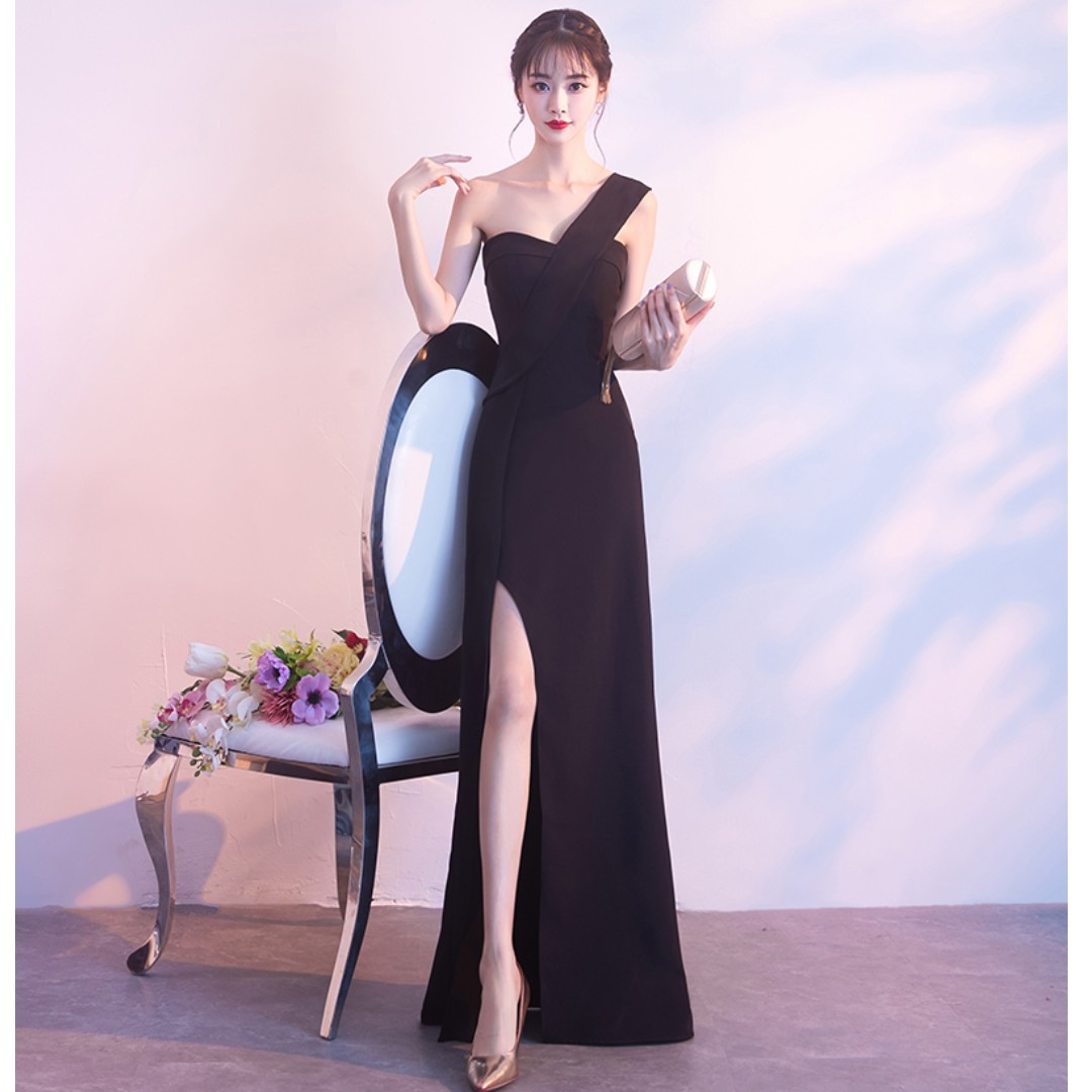 Gown Collection - Elegant Black Single Sling Sexy Split Design Gown