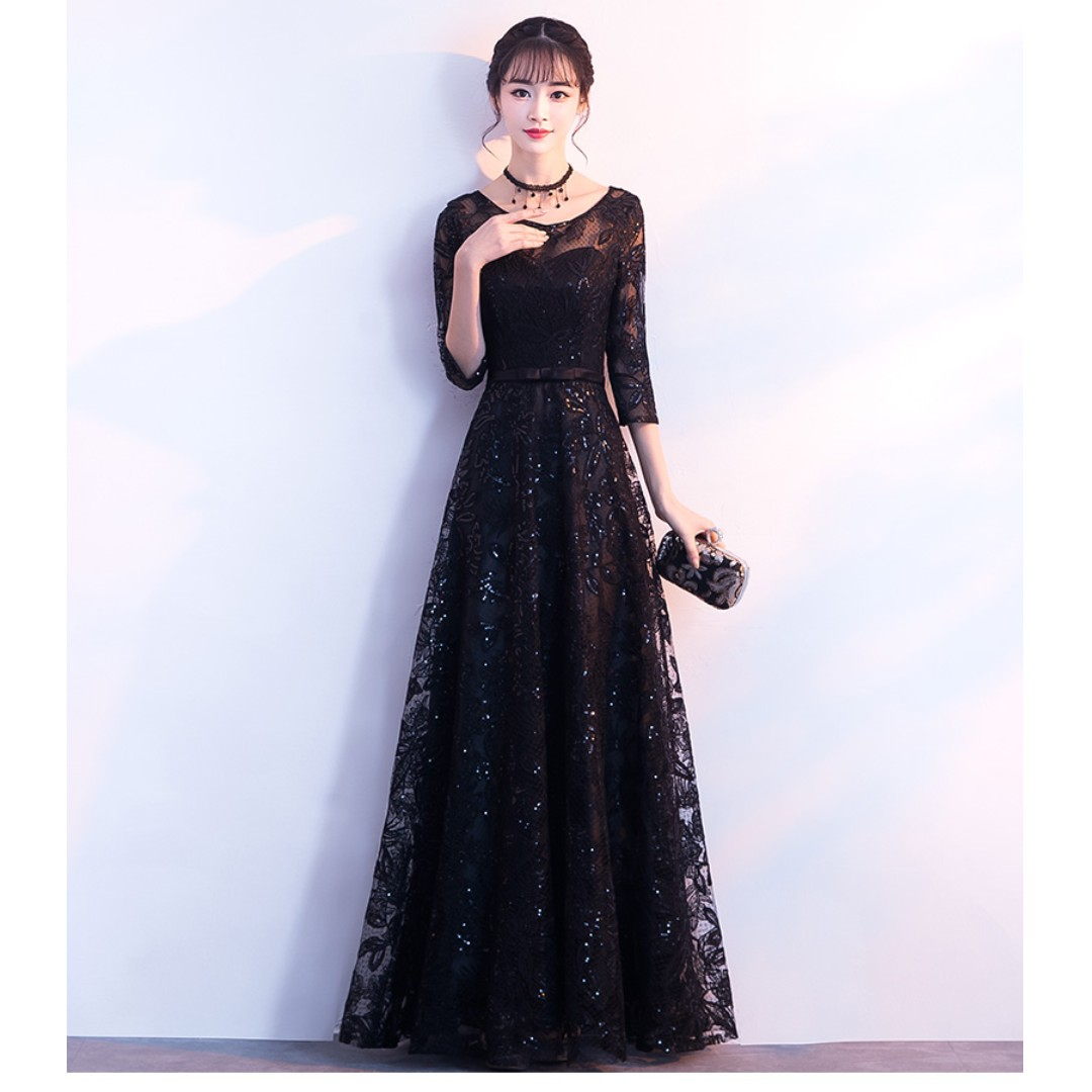 Gown Collection - Generous Black Mid Length Sleeves Lace Gown (Free Gift - Necklace)