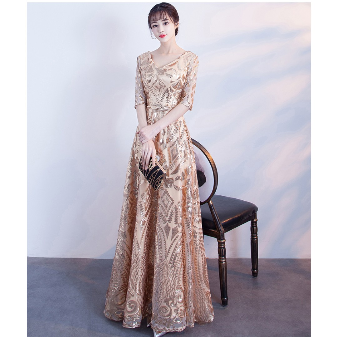 Gown Collection - Golden Shining V Neck Design Gown