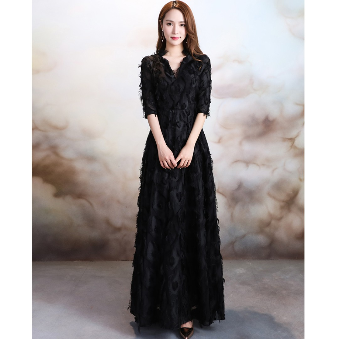 Gown Collection - Mystery Mature Black Tassels V Neck Design Gown