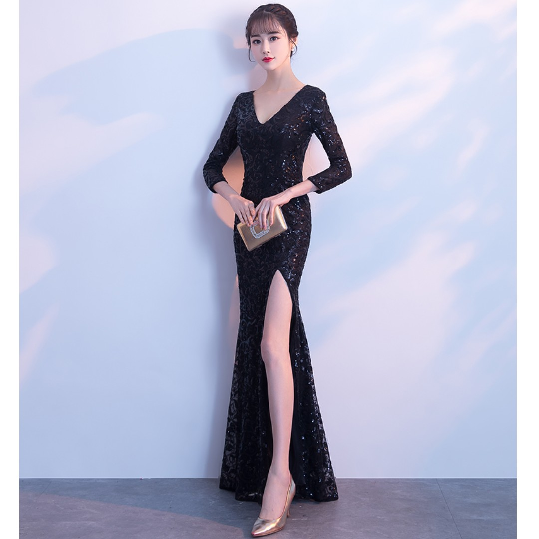 Gown Collection - Sexy V Neck Black Long Sleeves Split Design Gown