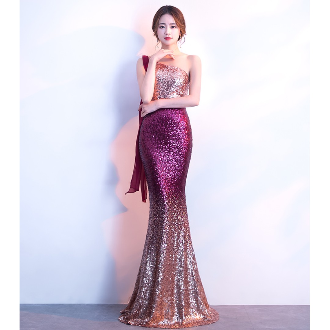 Gown Collection - Shining Purple Single Sling Design Mermaid Stretchable Gown