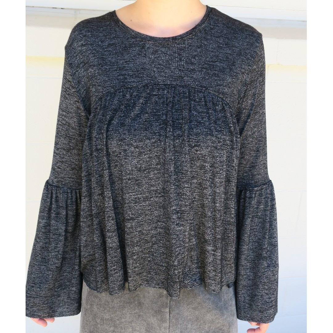 Grey Frilly Long Sleeve Shirt