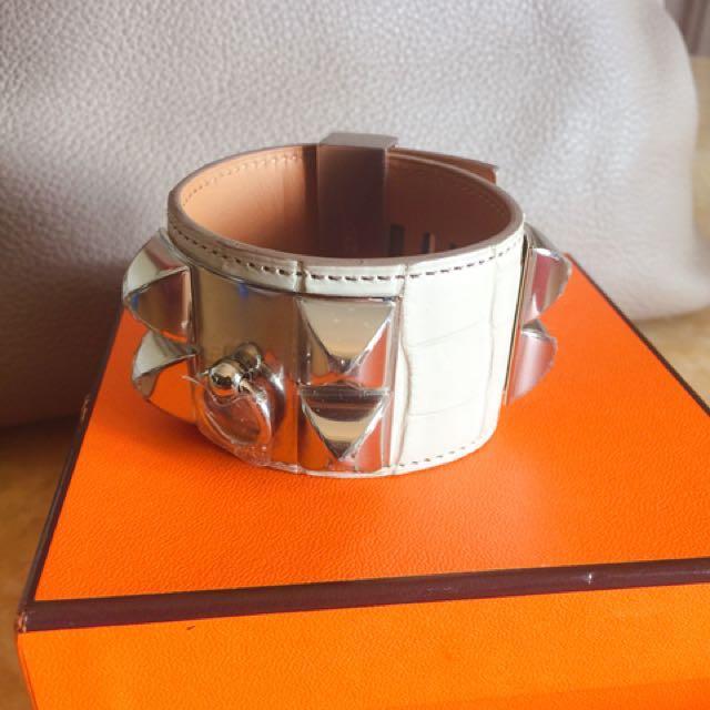 Herme's 全新8L米白鱷魚銀扣cdc手環S號