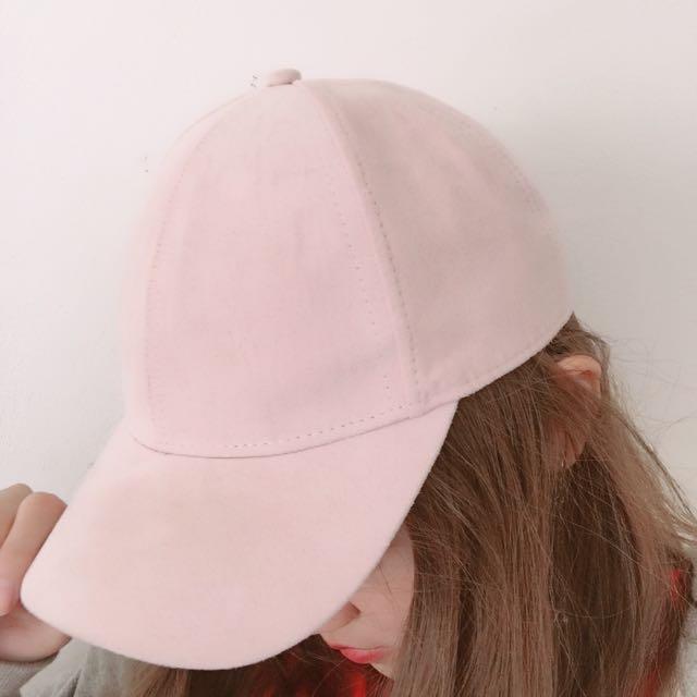HM麂皮粉紅帽子