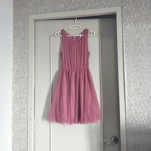H&M old rose tulle dress