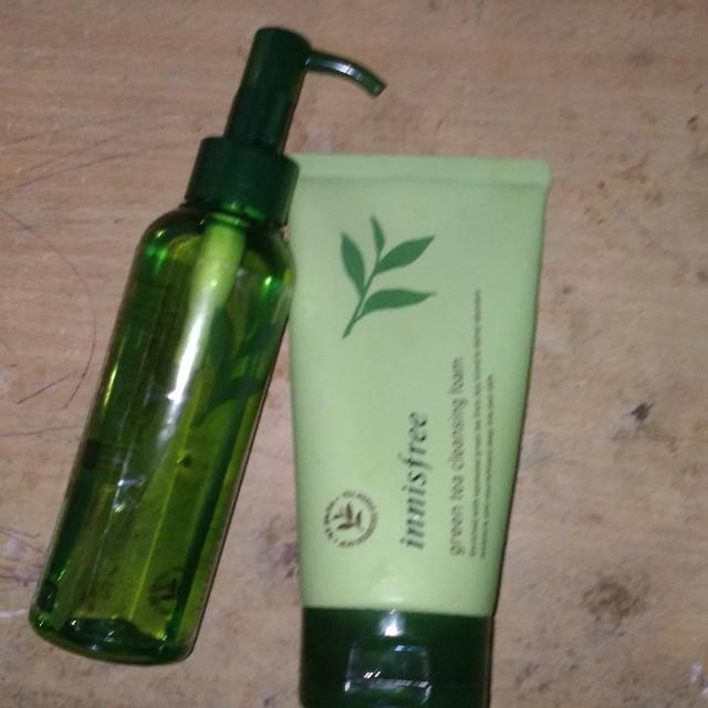 Innisfree green tea cleansing foam & moisture cleansing oil