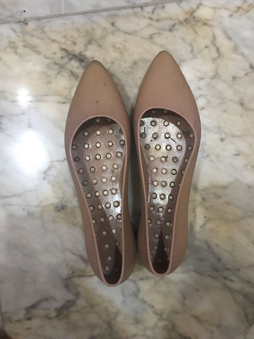 Jelly Rubber Flat Shoes Nude