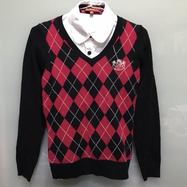 Knights Bridge S號英式格紋復古宮廷學院風刺繡長袖上衣毛衣