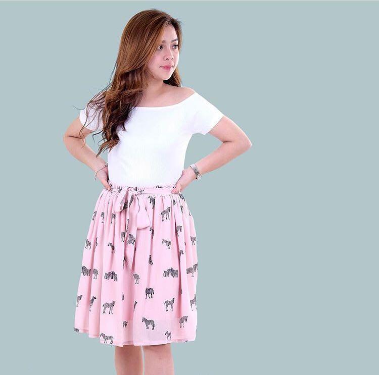 Light Pink Zebra Printed Skirt
