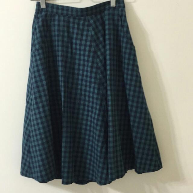 日牌lowrys Farm綠格紋長裙