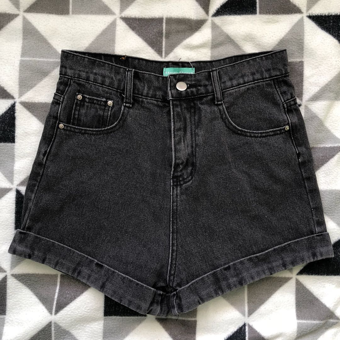 Moses Queen high waisted cuffed denim shorts