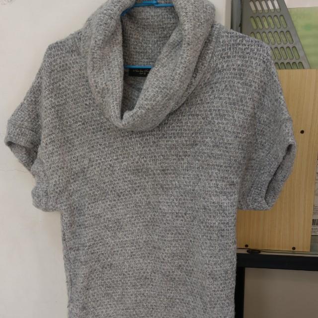 Net灰色氣質羊毛短毛衣