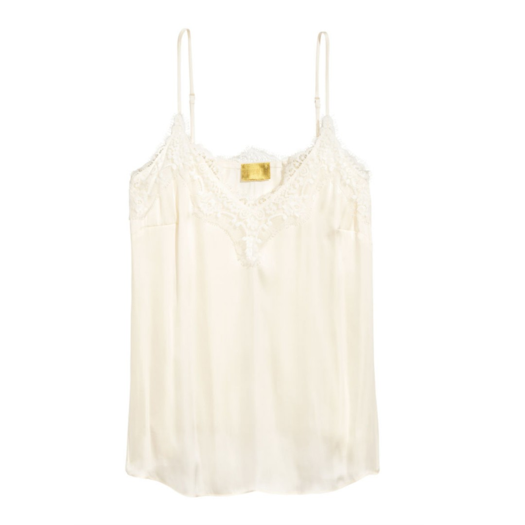 NEW White Strappy satin top with lace