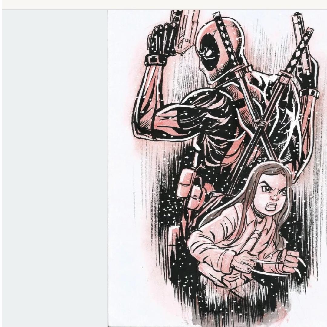 Original pencil sketch of deadpool