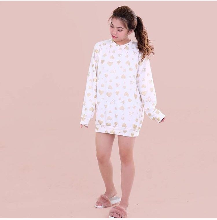 Oversized Heart Printed Pullover Dress
