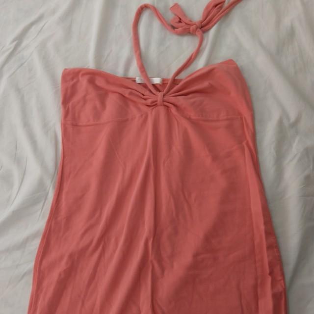 Pazzo 橘紅色繞頸內搭上衣
