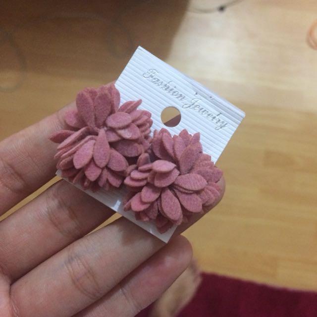 Pink Velvet Earrings