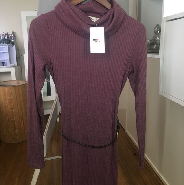 Purple turtle neck bodycon dress