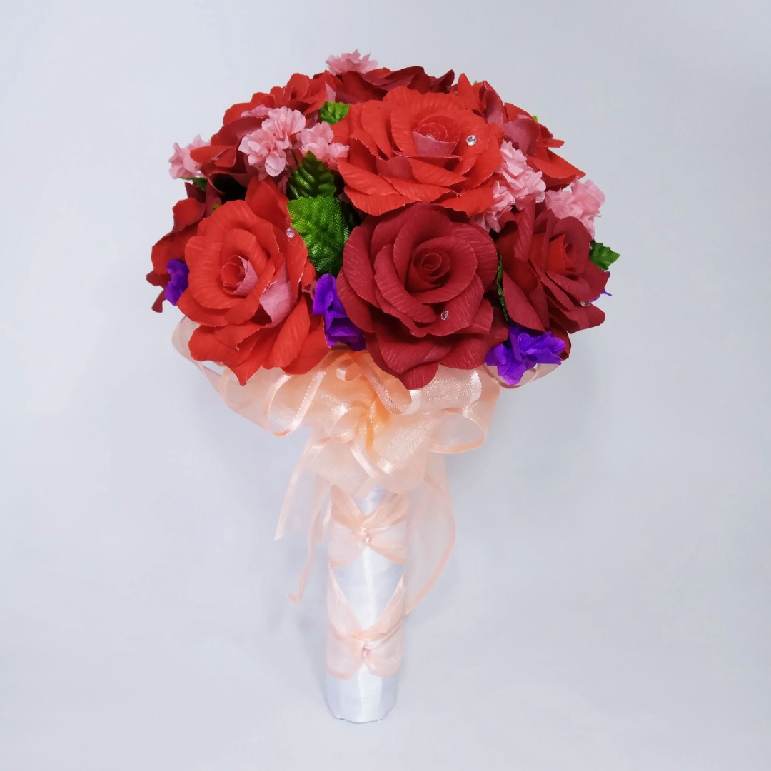 Ready Handmade Crepe Paper Rom Bridal Rose Hand Bouquet Design
