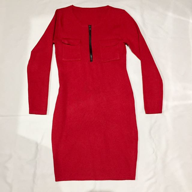 Red Long sleeves Bodycon Dress
