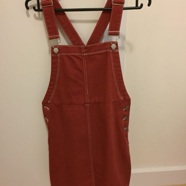 Red pinafore/ dungarees