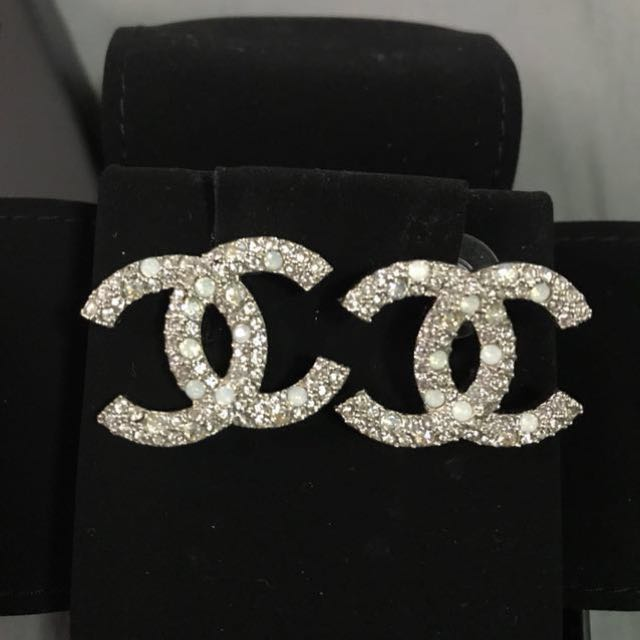 Reserved Chanel Earrings Silver With Diamanté Luxury Accessories On Carou