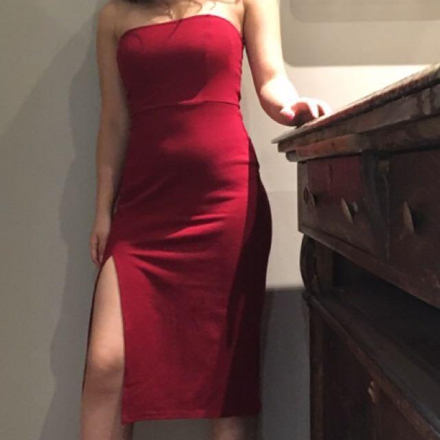 Sexy red slit dress