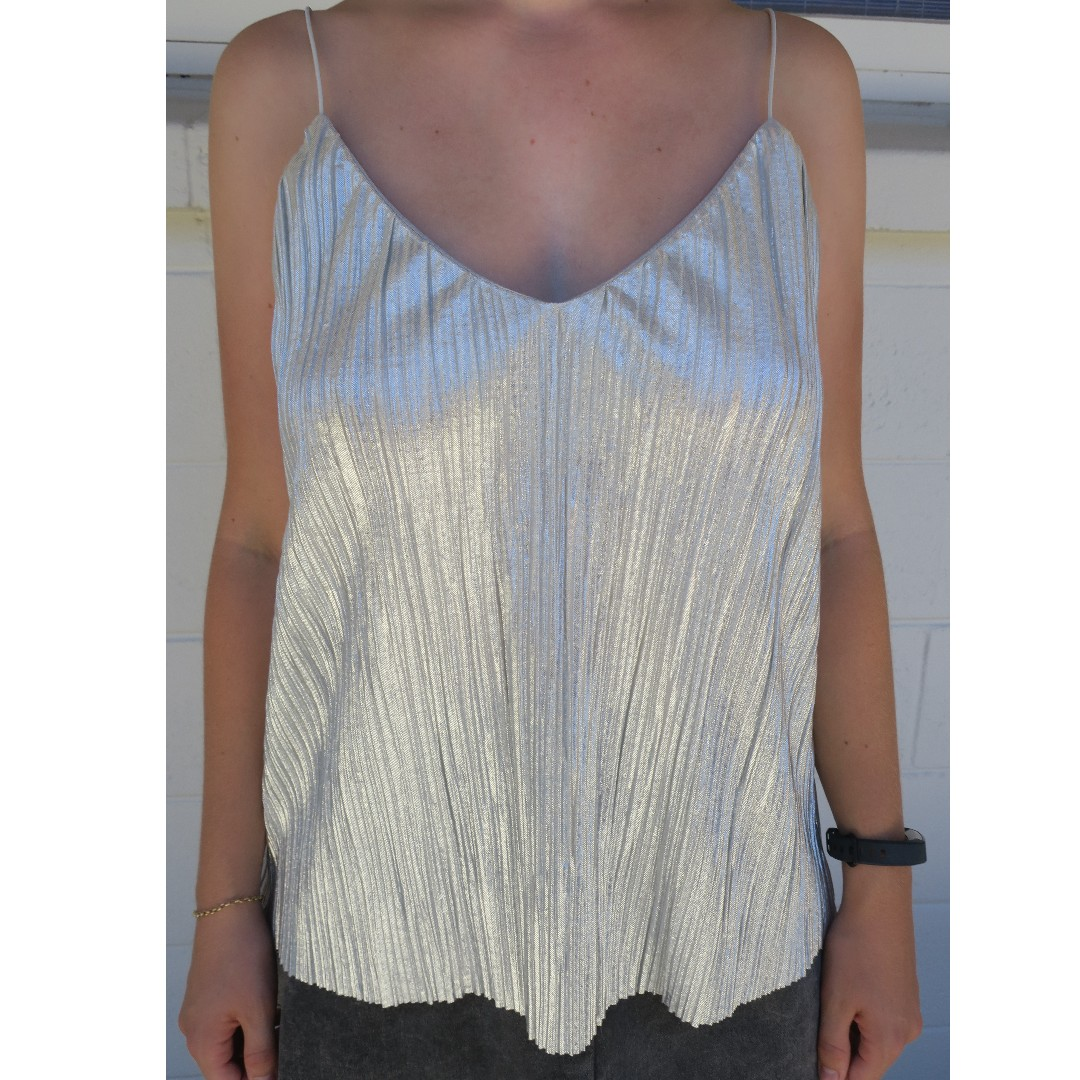 Shiny Silver Cami Top