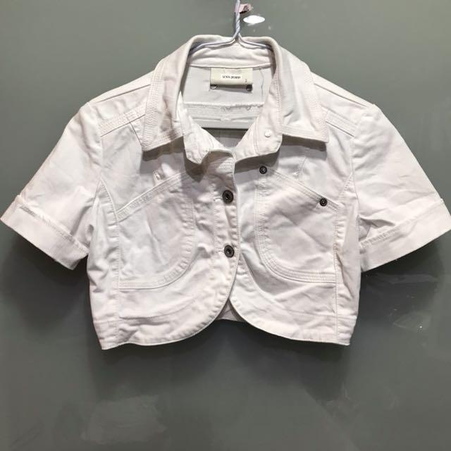 二手女裝S號牛仔短袖短版外套Mango MNG Jeans白色