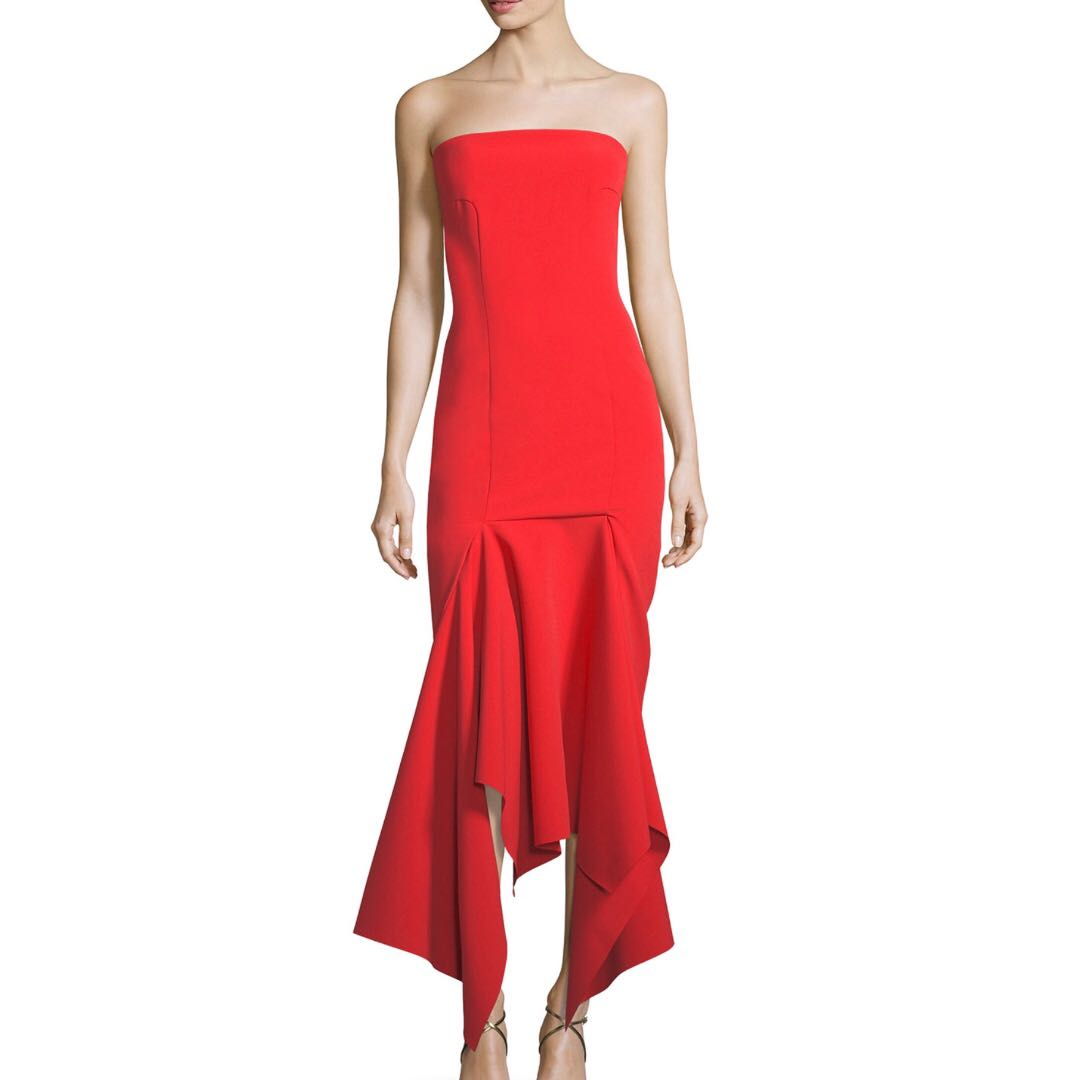 Solace London Veronique Draped Hem Midi Cocktail Dress