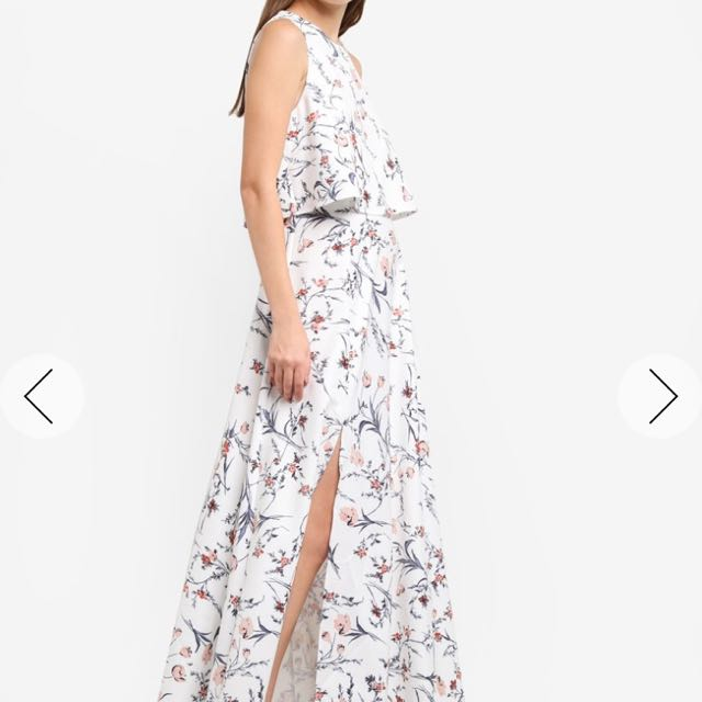 2abe34d770ad Something borrowed Double Layer Slit Floral Maxi Dress