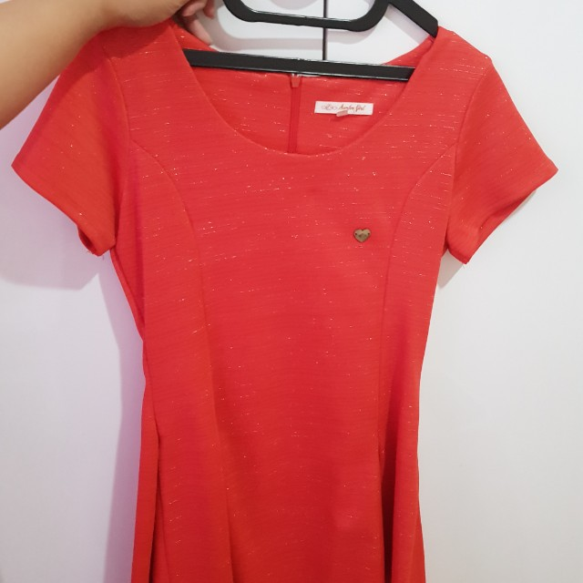 surfer girl orange dress M