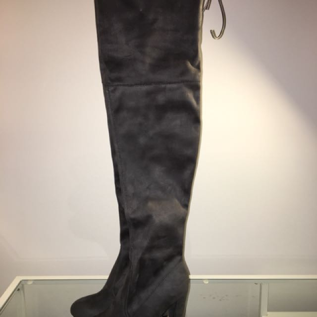 Thigh High Grey Suede Boot