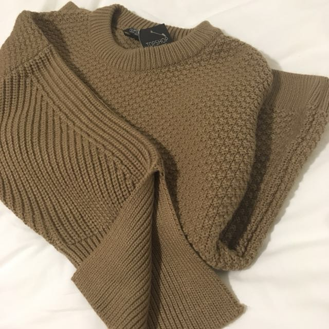 TOPSHOP PETITE BROWN SWEATER