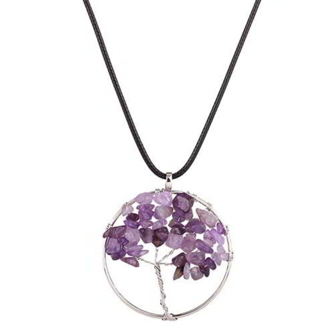 Tree of Life Stone Necklace - Amethyst