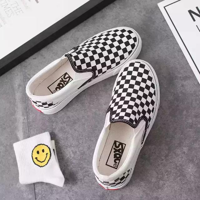 Vans Checkerboard Slip On Canvas Shoes Checkers Shoe Black White Box Casual Fashion Style Slip-on Sturdy