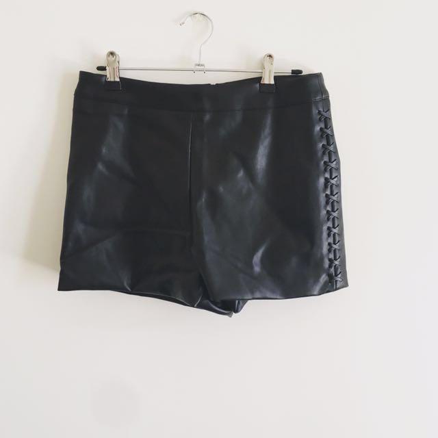 Vegan Faux Leather Shorts