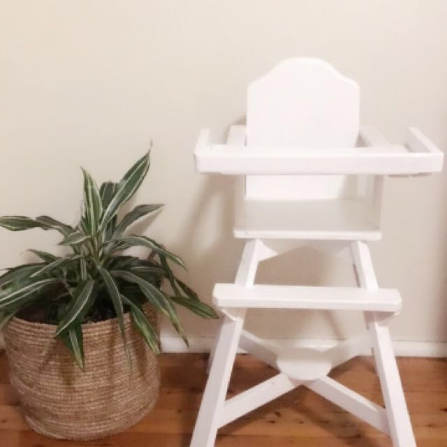 Vintage White Wooden High Chair