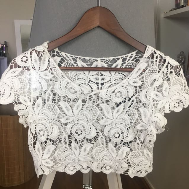 White Lacey floral crop top