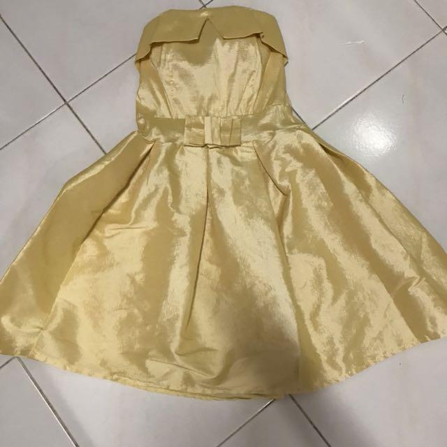 Yellow mini dress kuning kemben