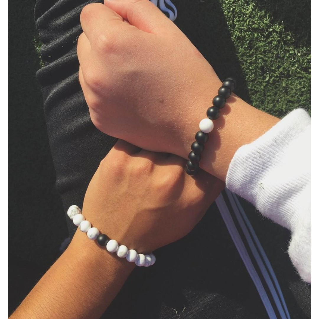 You Complete Me Bracelet - Black/White Gelang Couple