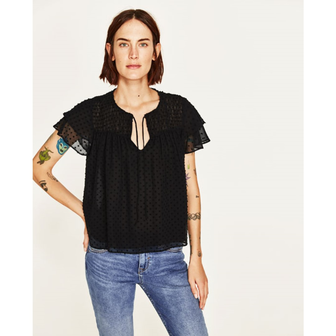 ZARA DOTTED MESH TOP WITH FRILLED SLEEVES