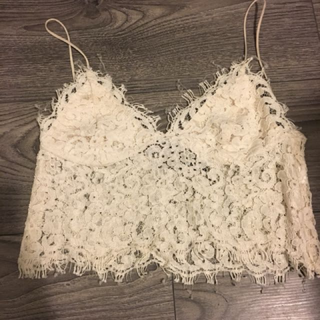 Zara White Lace Crop