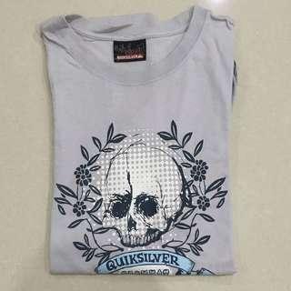 QUICK SILVER Skull soft purple tshirt/ kaos pria