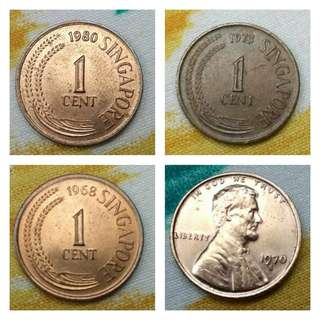 4Pcs x 1 Cent Coin