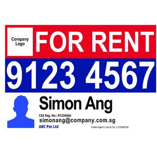 "Real Estate Agent ""FOR RENT"" PVC Banner - Perfect for Outdoor or Indoor displays"
