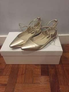 Zara Gold Flats