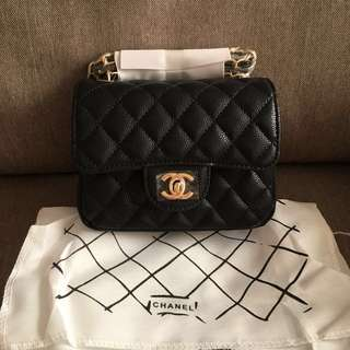 NEW CHANEL MINI SQUARE BLACK CAVIAR